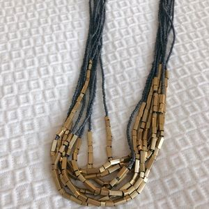 LOFT long bead and gold necklace